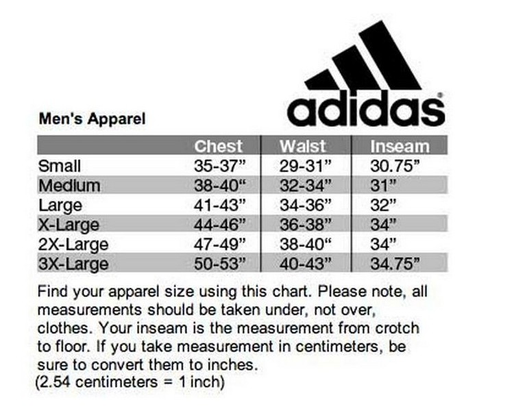 size chart for adidas pants