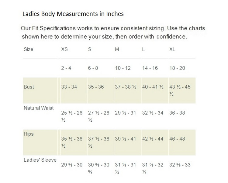 Straight Down Women's Outwear Size Chart