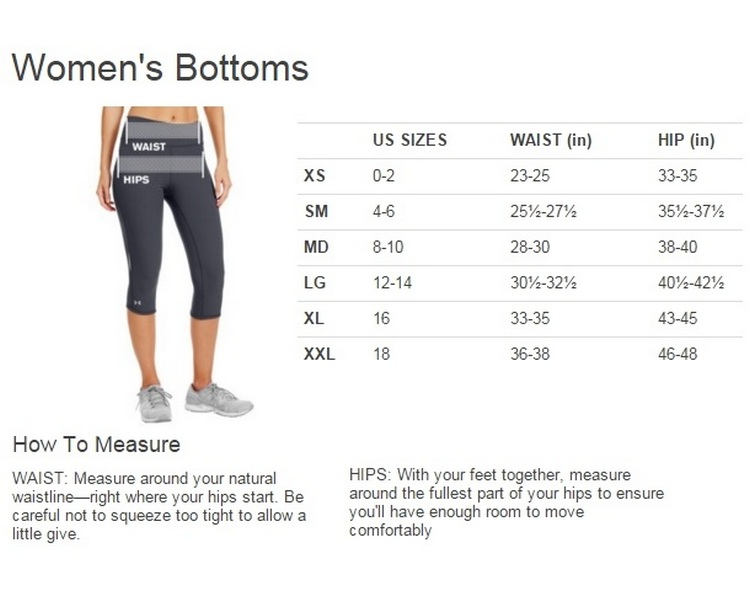 Under Armour Women's Shorts Size Chart